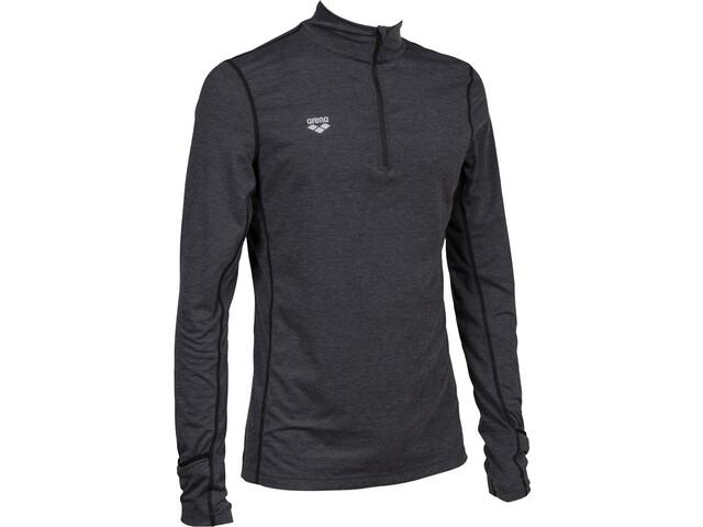 arena Thermal Half Zip Long Sleeve Shirt Men black melange/lime soda